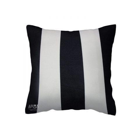 כרית נוי פסים רחבים בשחור לבן
