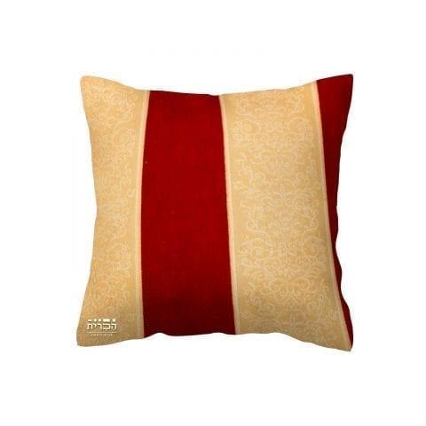 כרית נוי עלים בטקסטורת פסים ואדום