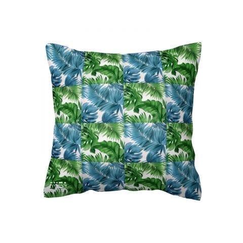 כרית עלים ירוקים וכחולים
